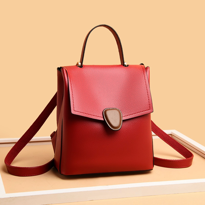 Soft Pu Leather Backpacks for Women 2021 New Trend Casual Travel Backbag Mini Solid Color Backpack Ladies Multifunction Backpack