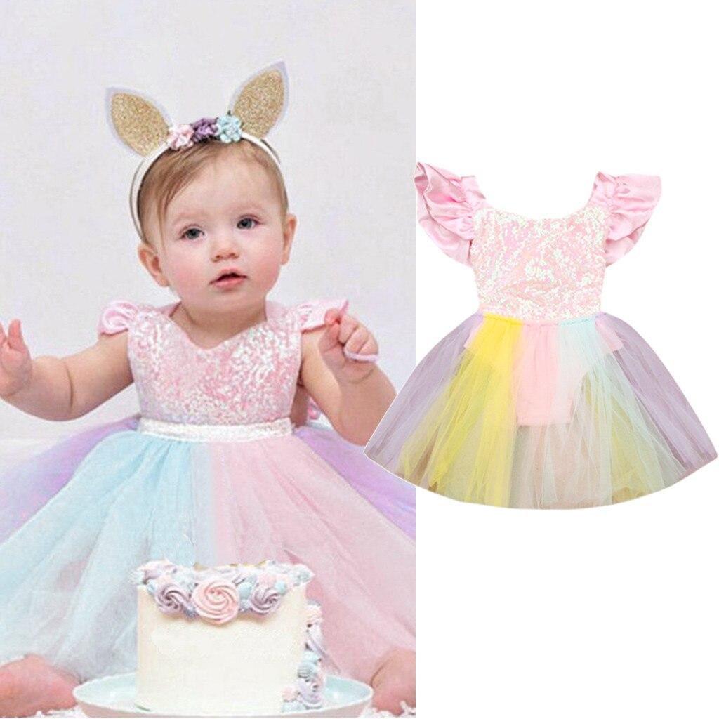 Bebé chico s vestido para niña niño pequeño chico vestidos sin mangas de niña Arco Iris lentejuelas encaje ropa princesa mameluco vestido
