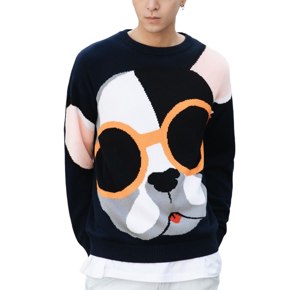 Men Sweater Cartoon Funny Dog Print O-Neck Pullover Sweaters Men Soft Slim Casual High Street Fashion Streetwear