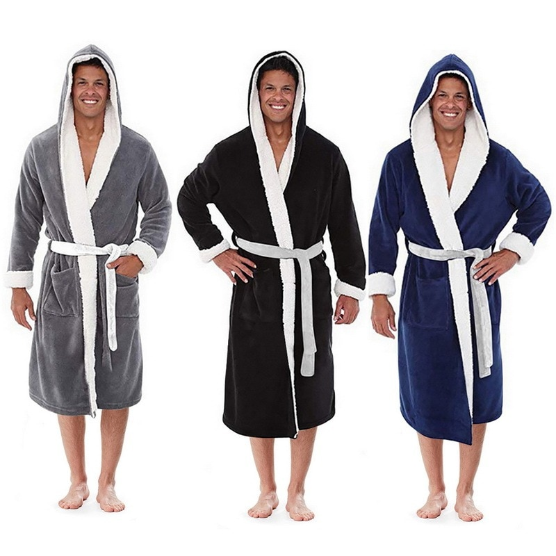 Удлиненный банный халат с капюшоном Однотонный мужской зимний плюшевый Карманный длинный халат в стиле пэчворк с длинным рукавом Интимная ...