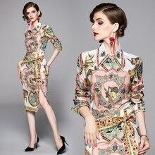 Herbst Mode Vintage Twinest Anzüge frauen Elegante Gedruckt Langarm Bluse Shirt + Schärpen Split Midi Rock Zwei Stücke set
