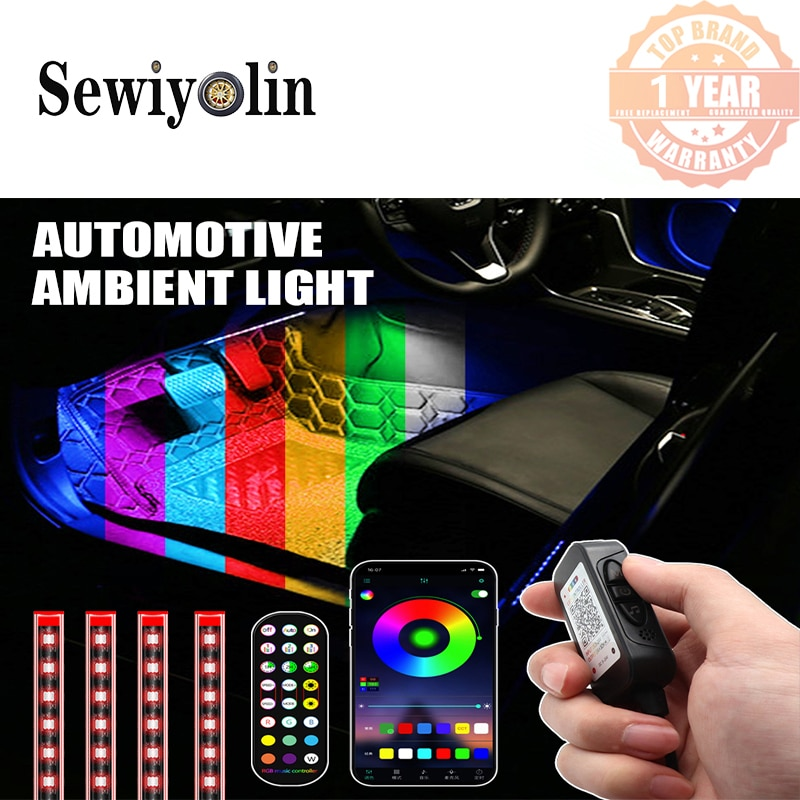Decorative Lights LED 12V Car Atmospgere Lamp Foot Ambient Lamp USB App Remote Box Control Multiple