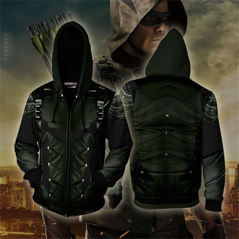 new 3D Hoodies Costume Green arrow Clothing Oliver QueenZip Up Hoodie 3D printed Zipper Hoodies Men Fashion Hooded Jacket tops