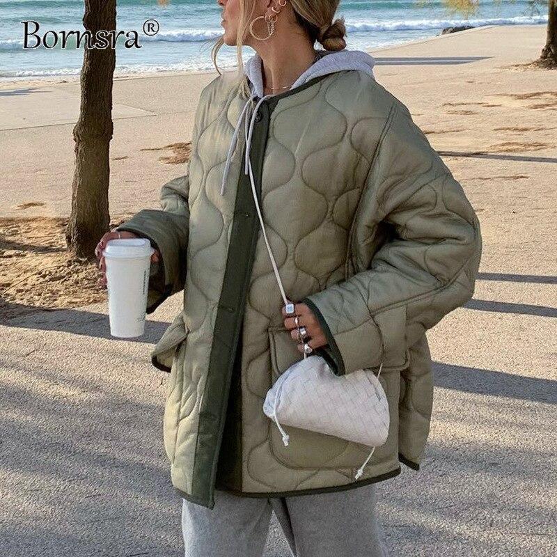 Bornsra الملابس النسائية لخريف/شتاء 2021 جديد بلون زر جيب معطف فضفاض سترة قطن المرقعة معاطف الشتاء