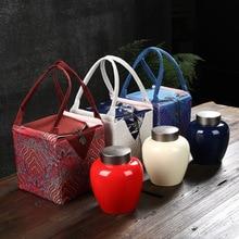 Rouge bleu couleur pots de thé porcelaine fruits secs scellé canettes cadeau danniversaire cuisine boîte de rangement bonbons café cachette réservoir thé organisateurs