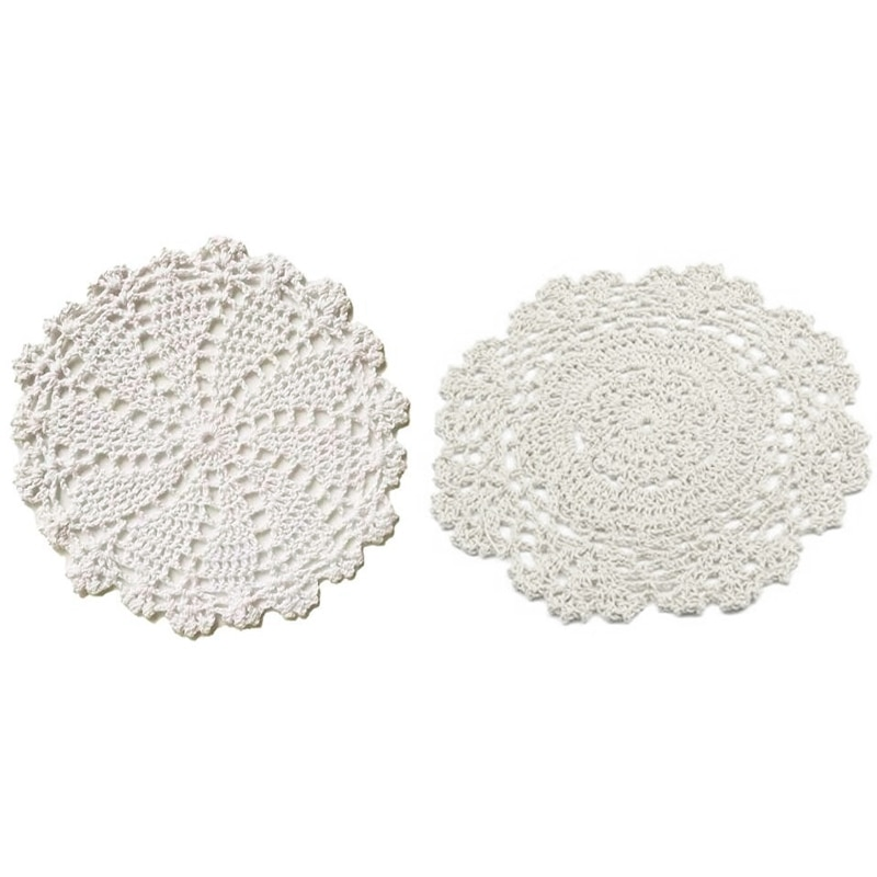 Manteles Individuales hechos a mano redondos de ganchillo de algodón para mesa, paquete de valor de Doilies, mezcla, Beige 4Pc