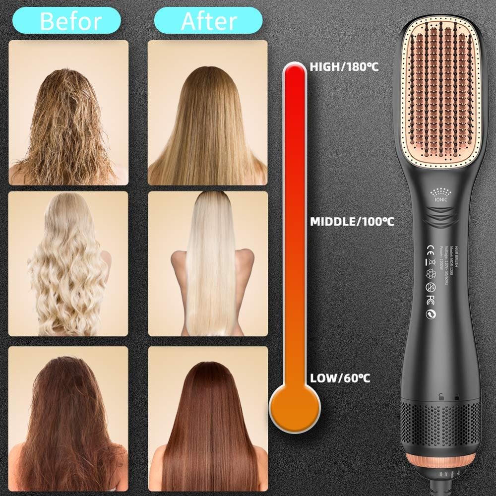 One-Step Ceramic Hair Dryer Straightener Brush 1200W Ionic Straightening Brush blow dryer with comb for Home Salon and Travel enlarge