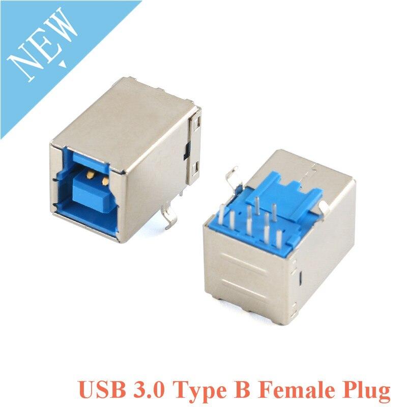 2pcs USB 3.0 Type B Female Plug jack USB-B Right Angle AF Socket Printer Connector Terminal BF/90 Degree plug-in Board