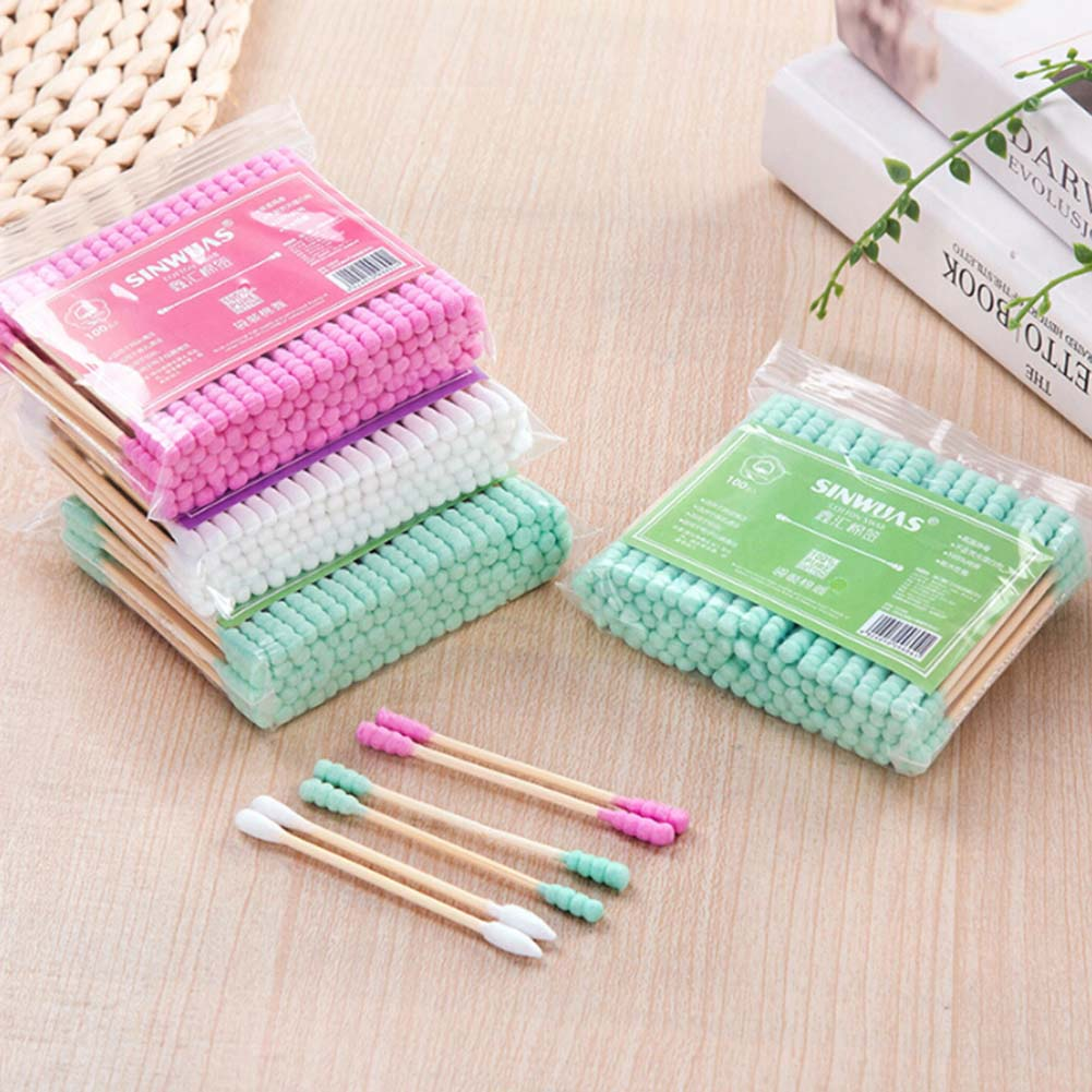 100pcs/ Pack Double Head Cotton Swab Women Makeup Cotton Buds Tip For Wood Sticks Nose Ears Cleaning