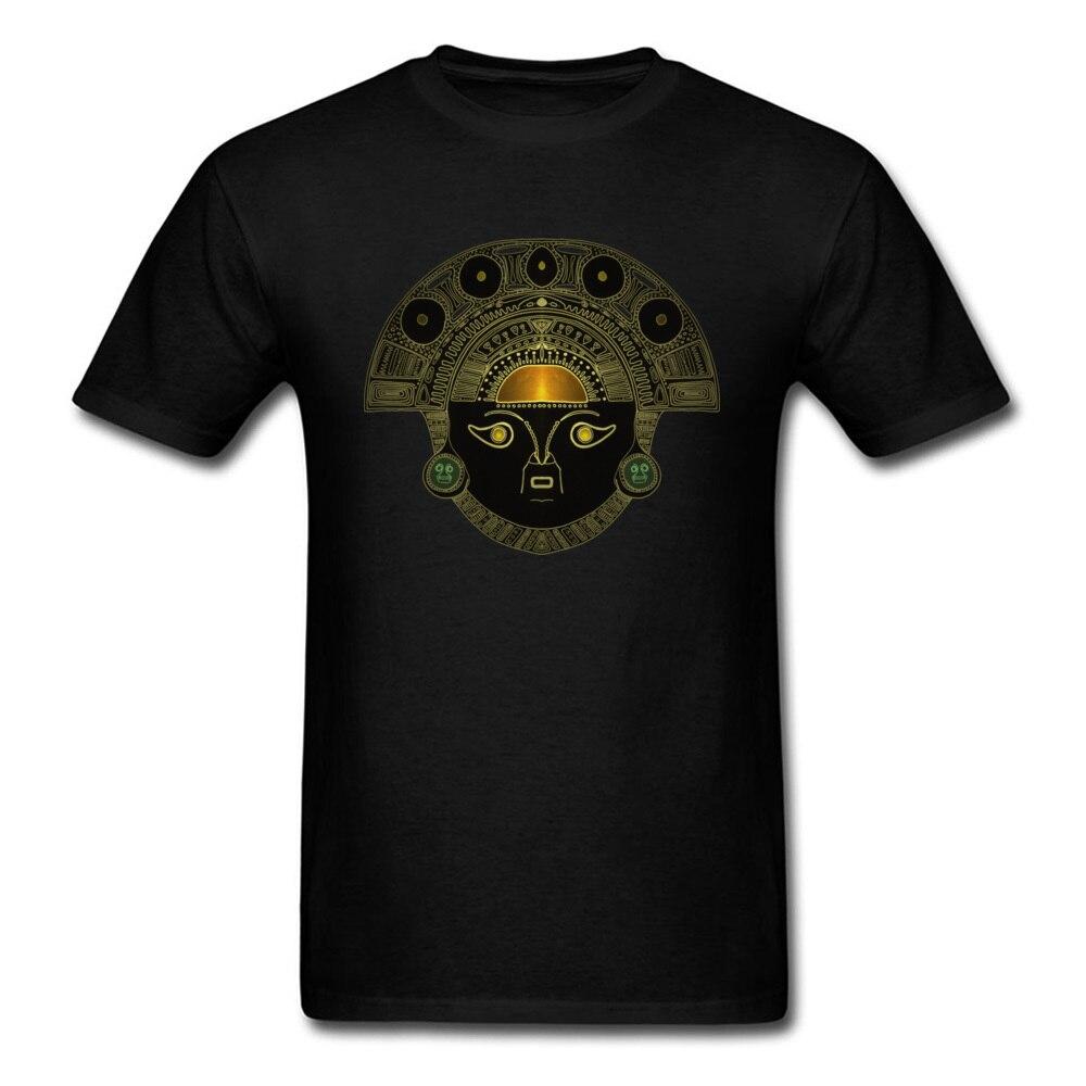 Camiseta negra con diseño de arte egipcio de God Sun Mask para hombre, estampado de patrón dorado, No se decolora, camisetas de algodón de manga corta con cuello redondo