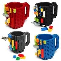 350ml creative milk mug coffee cup creative build on brick mug cups drinking water holder for lego building blocks design