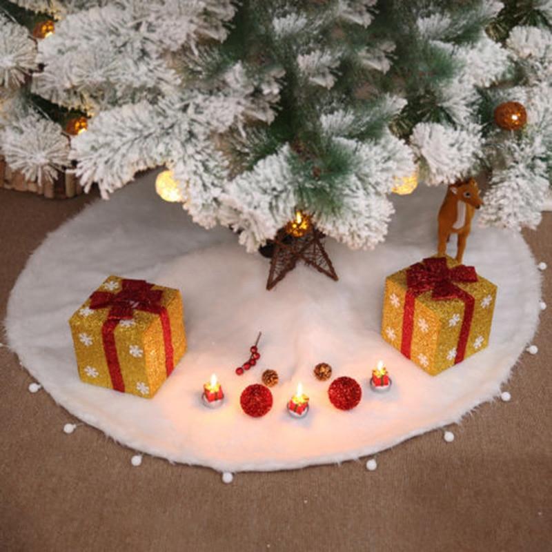 Christmas Tree Skirt Apron Ornament White Mat Xmas Party Home Decoration White Christmas Tree Decoration Ornament недорого