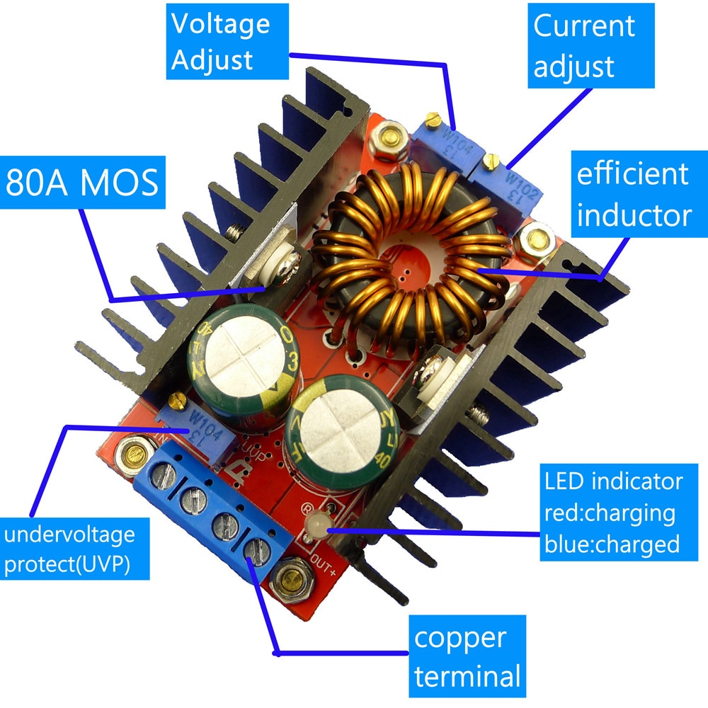 80W CC CV Buck Boost Converter 9-35V a 1-35V ajustable Buck Booster DC paso abajo adaptador módulo regulador de voltaje