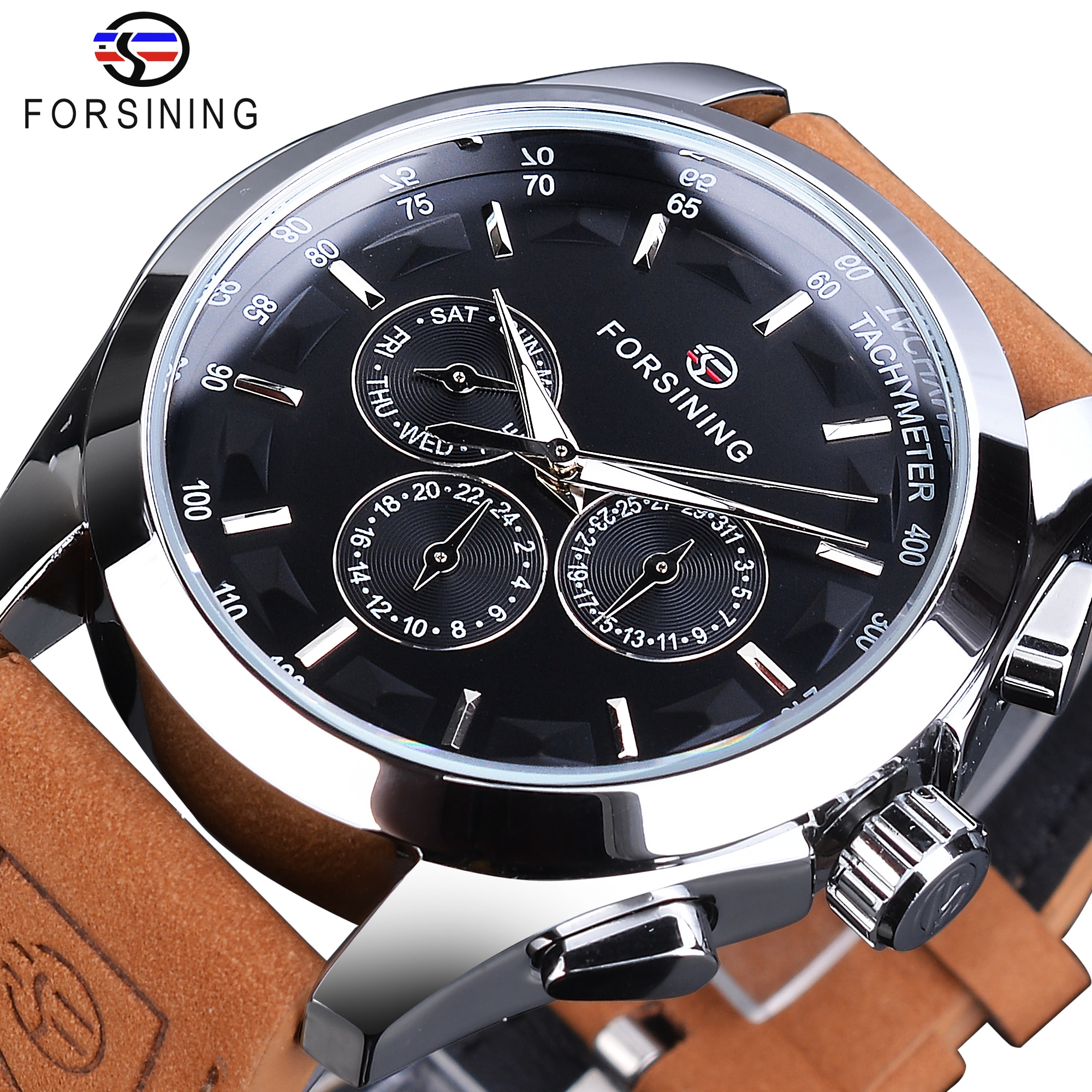 forsining luxury brand men vintage automatic watches male fashion auto date mechanical wristwatches rome dial real leather band Forsining 3 Dial Automatic Watch Men's Mechanical Watches Black Calendar Display Clock Fashion Luminous Male Wristwatches Reloj