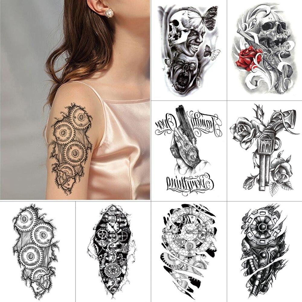 Tatuaje mecánico negro tatuaje temporal pegatinas 98K esqueleto cráneo demonio tinta impermeable tatuaje cuerpo pegatinas