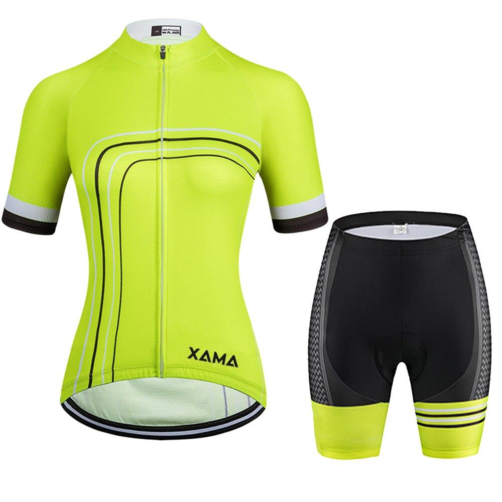 2021XAMA PRO Mujer amarillo fluorescente Ciclismo Jersey manga corta conjuntos de ropa...