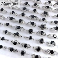 20pcslot mix style vintage black glass gem rings for fashion womens wedding jewelry party gift