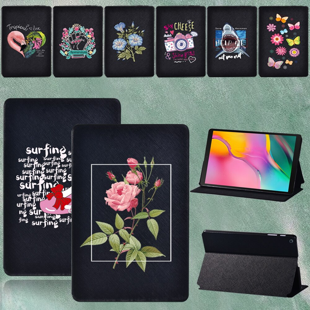 Tablet Cover for Samsung Tab A 8.0 SM-T290 SM-T295  , Color Pattern Leather Pu Cover for SM T290 T295 2019 Case+pen