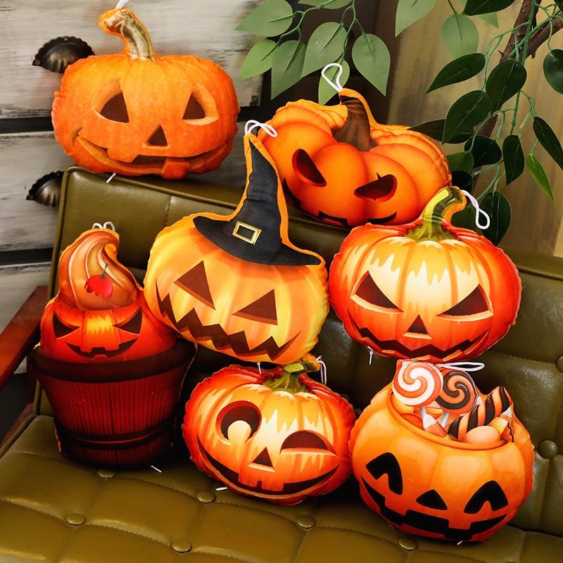 Halloween Pumpkin Stuffed Toy Evil Candy Hat Cherry Cake Moon Eye Triangle Eyes Pumpkin Plush Pillow Kids Holiday Props Gift