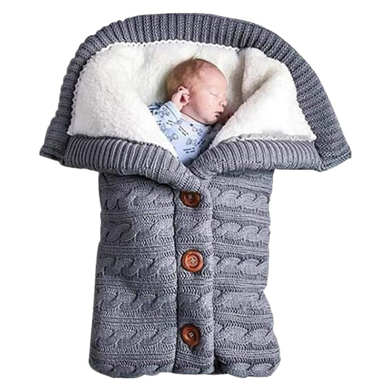 Newborn Baby Swaddle Blanket Warm Cozy and Soft Newborn Infant Nursery Knitted Fleece Blanket Newborn Swaddle Wrap BM88