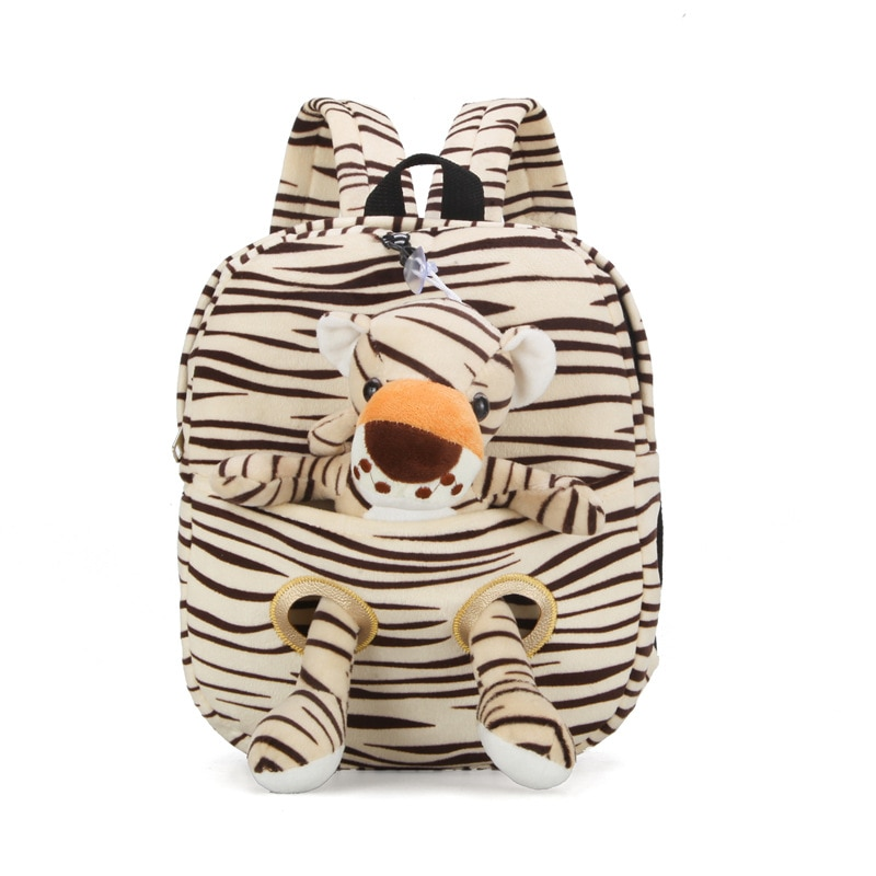 Animal Plush Backpack Cartoon Tiger Giraffe School Shoulder Bag Kid Detachable Doll Soft Baby Toys Kids Birthday Christmas