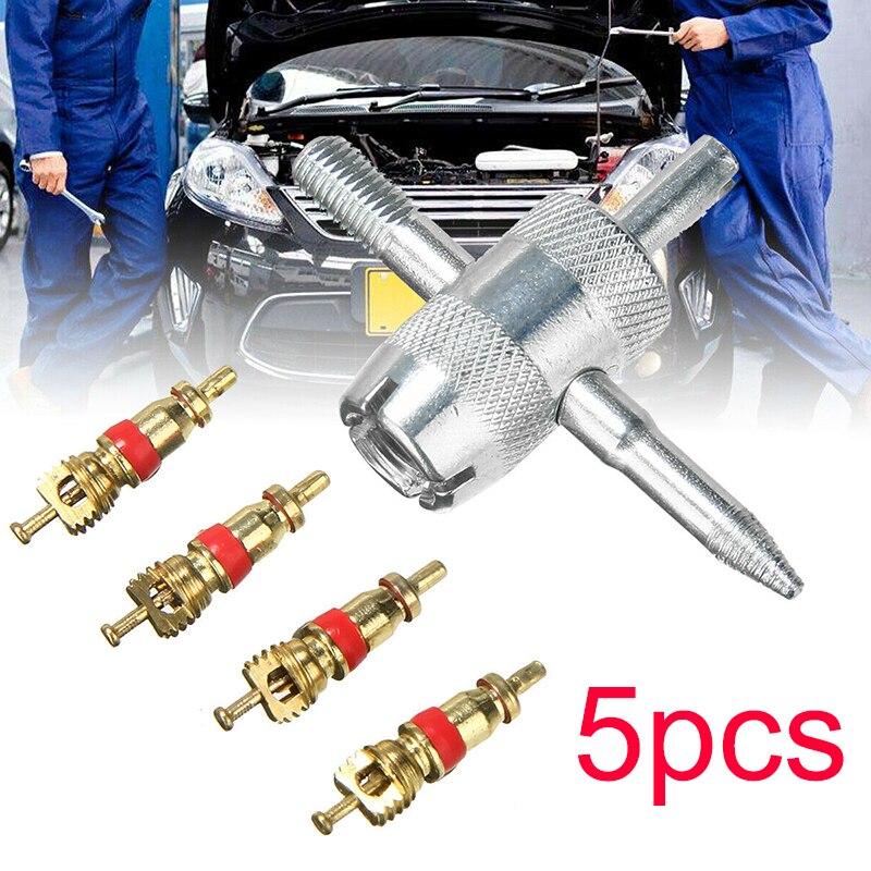 Новый инструмент для удаления автомобильных шин + 4 латунных сердечника клапана, набор из четырех в одном повторных кранов с резьбой внутри, внутренние стержни клапана, автомобильные аксессуары