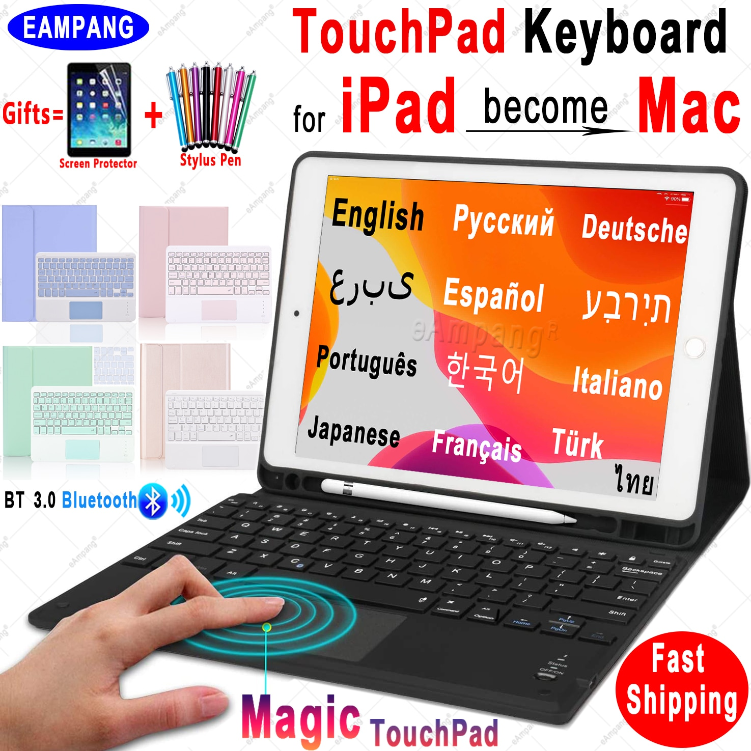 Magic TouchPad Keyboard for iPad 10.2 Keyboard Case for Apple iPad 9.7 2017 2018 Air 2 3 4 Pro 9.7 10.5 11 2018 2019 2020 8th