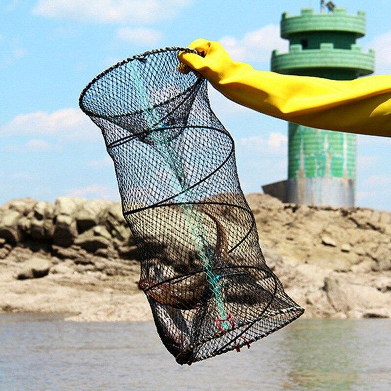 La pesca puede pescar peces pequeños, camarones, cangrejo portátil, plegable, duradera jaula para langosta 4 capas cebo portátil jaula para langosta herramienta de pesca