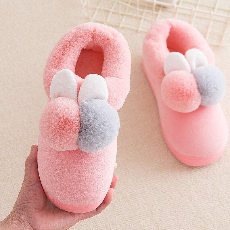 Женские зимние тапочки, бархатная женская домашняя обувь для снега, повседневная женская мягкая удобная плюшевая обувь с меховыми кроличьими ушками для пар
