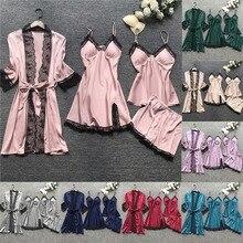 Women 4 Pieces Pajamas Sets Satin Sleepwear Silk Nightwear Pyjama Soild Strap Lace Sleep Lounge Pija
