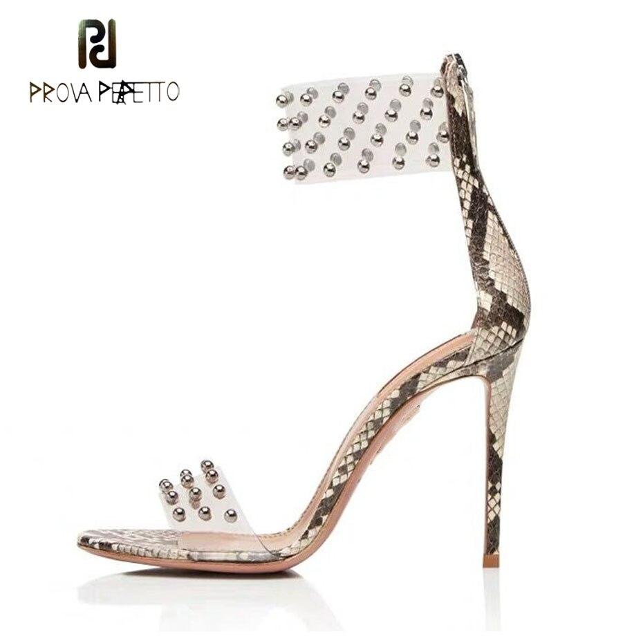 Prova Perfetto-صندل من الجلد الطبيعي الفاخر بكعب عالٍ مع برشام ، أحذية حفلات ، أحذية مثيرة ، خليط