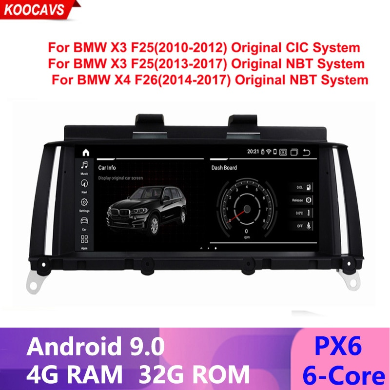 GPS multimedia para coche Android 9,0 IPS 4G + 32G para BMW X3 F25 X4 F26 (2010-2013), sistema CIC Original (2013-2017), sistema NBT Original