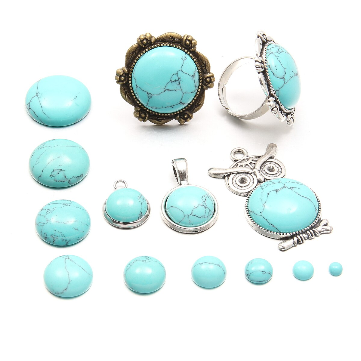 AliExpress - Natural Stone blue turquoise Cabochon Beads 8 6 10mm Round No Hole Loose Beads For jewelry making DIY Ring Necklace accessories