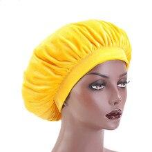 Очень большая высокая эластичность Женская бархатная шапочка для сна с премиум эластичной лентой резинка для волос потеря шапочка шапка оптовая продажа