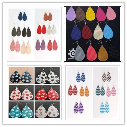 ¡Novedad de 0002! Pendientes de cuero PU con forma de lágrima con lentejuelas y varios colores, pendiente de gota de agua estilo bohemio
