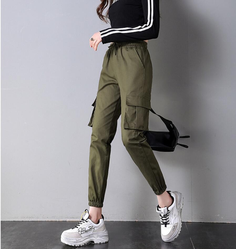 Женские свободные брюки-карго с карманами, шаровары с высокой талией, высококачественный хип-хоп стиль