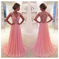 coral pink lace prom dresses 2019 long formal eveniong gowns chiffon dress for graduation vestido de baile vestido de formatura