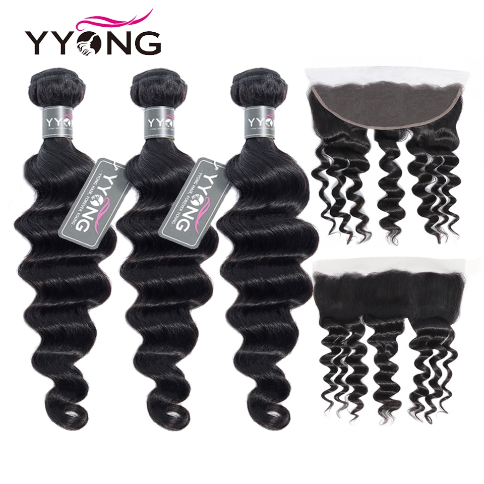 AliExpress - Newest 13×4 Ear To Ear Lace Frontal Closure With Bundles Remy Brazilian Loose Deep Wave 8-30inch Human Hair Bundles With Frontal