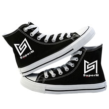 Super M KPOP SuperM Star Group chaussures en toile Fans répondent à laide haute aide chaussure loisirs amateurs vulcaniser chaussures plates baskets
