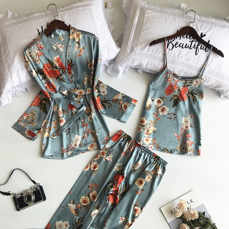 SAPJON 2019 New 3 PCS Women Pajamas Sets with Pants Sexy Pyjama Satin Flower Print Nightwear Silk Negligee Sleepwear Pyjama