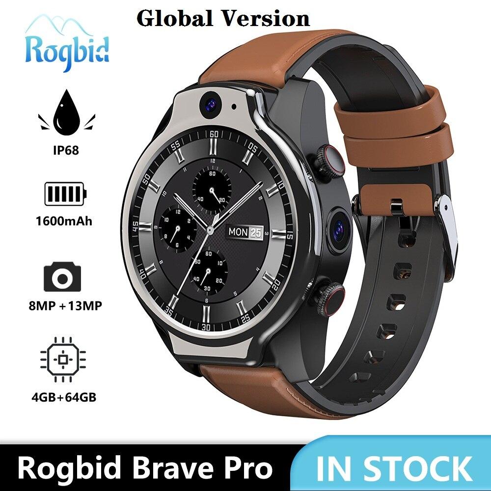Review Global Version Rogbid Brave Pro 4GLTE Smart Phone Watch 4GB 64GB Dual camera 13MP 1600mAh Android 10 OS WIFI GPS IP68 Waterproof