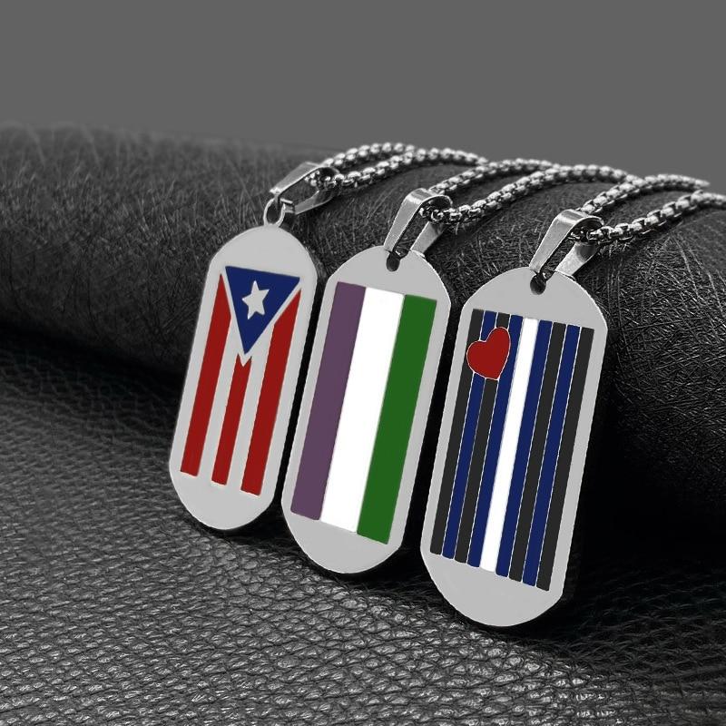 Puerto Rico Bandera Nacional colgante Acero inoxidable collar Color plateado PR puertorriqueños...