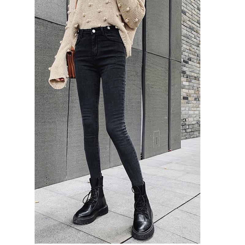 JUJULAND outono cintura alta senhoras finas calças de brim botão mosca elástico na cintura legging jeans plus size elástico preto das mulheres calças de brim 9802