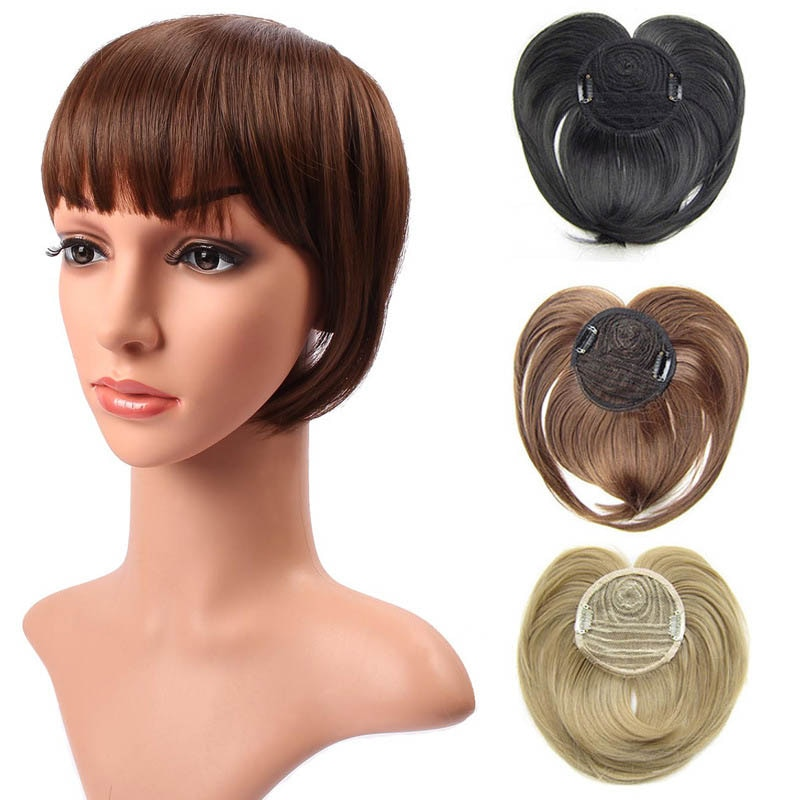 AliExpress - Gres Women Straight Synthetic Hairpieces High Temperature Fiber 18 Colors Women Clip-in Middle Parting Bangs
