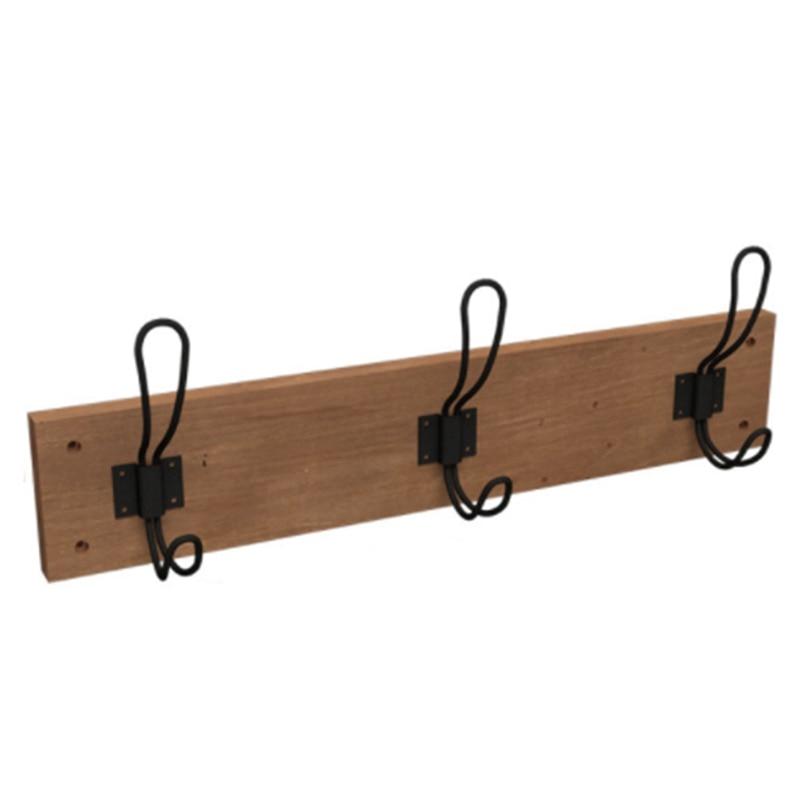 رف معاطف خشبي عتيق الطراز ، ريفي ، حامل حائط مع 3 خطافات للمدخل