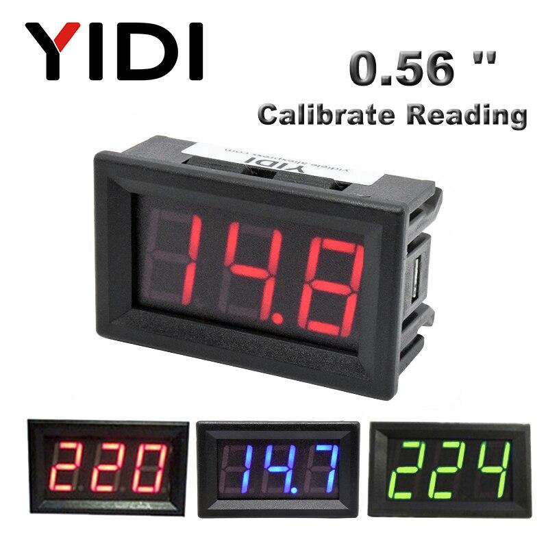 0.56 volvollcd digital voltímetro 30-500vac calibrar leitura 0-100vdc 5-30v vermelho verde azul display led medidor de tensão detector tester