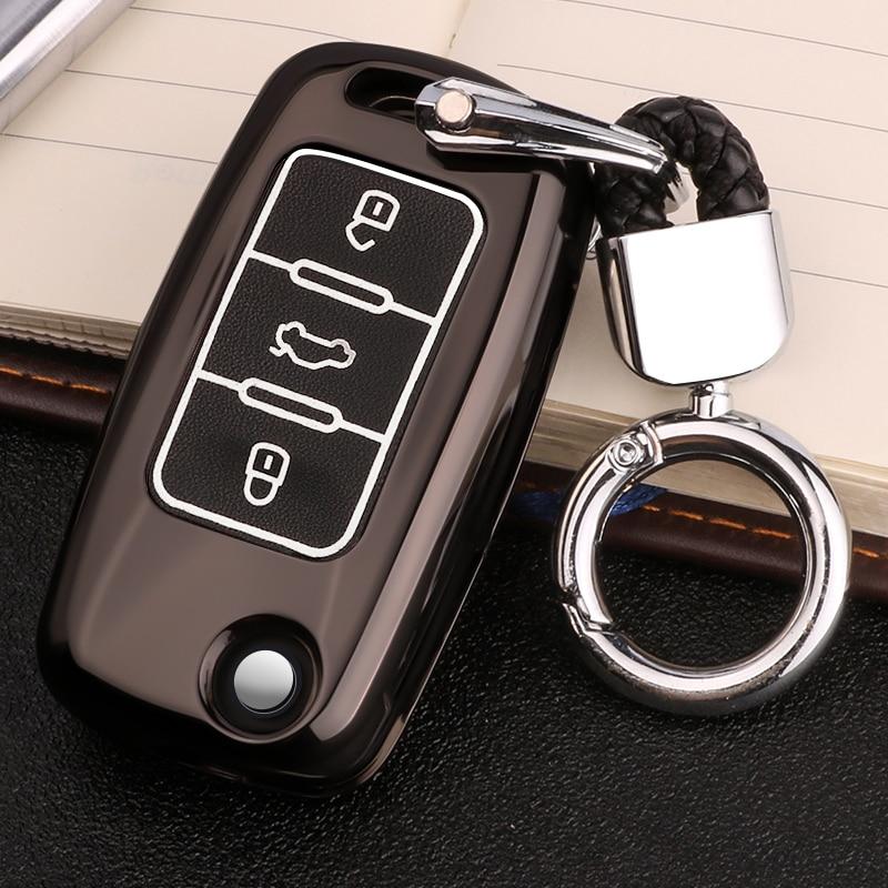 Funda Cuero Luminoso para llave de coche para Skoda Kodiaq Rapid Octavia 1 2 A5 A7 Superb A7 Yeti para VW Golf 7 GTI MK7 Tiguan