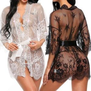 New Sexy Women Lingerie Lace Ruffles Robe See-through Babydoll Underwear Sleepwear Night Dress Erotic Sex Clothes