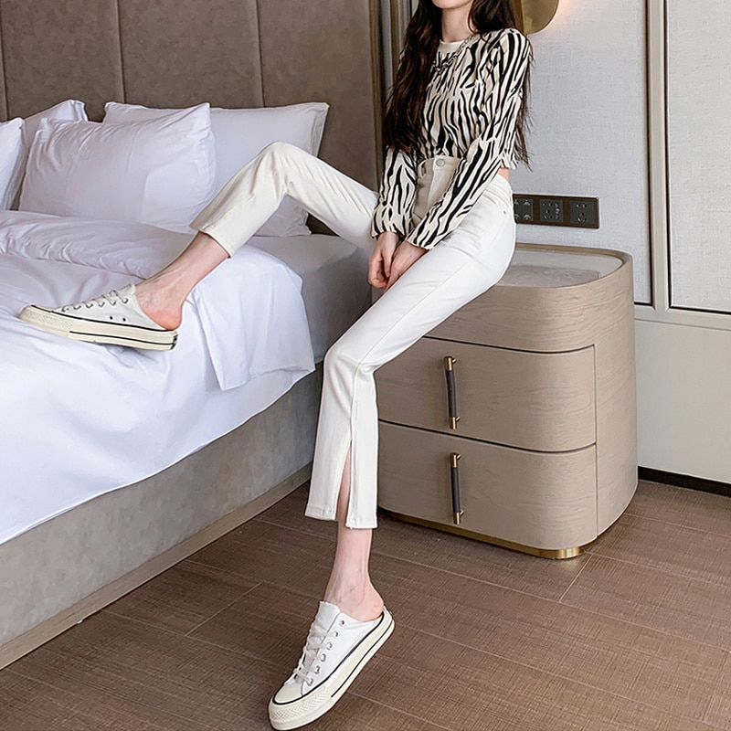 Beige Cropped Jeans Women's Thin 2021 New Small Slimming High Autumn Side Slit Straight-Leg Pants