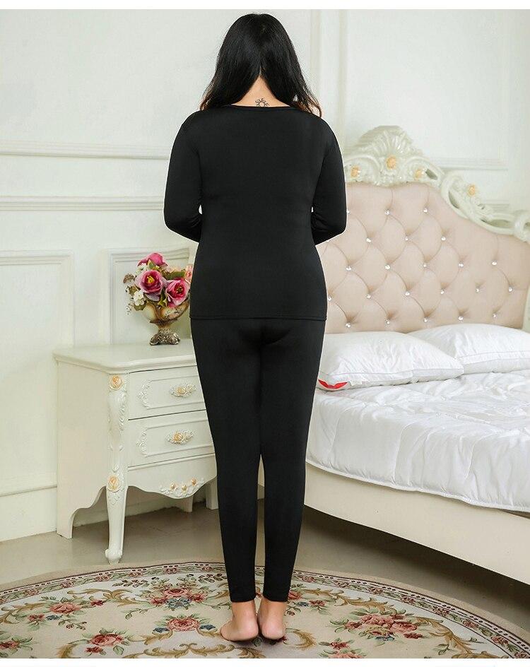 Long Johns for Ladies Autumn Winter Wear Warm Thermal Underwear Set Women Fleece O-neck Second Skin Female Big Plus Size 5XL xxl